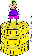 rich kid - little boy standing on pile of coins - toddler...
