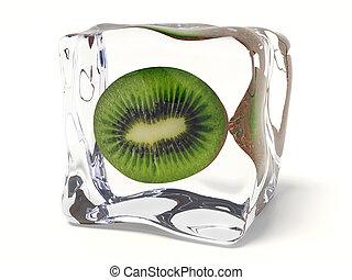 kiwi - rich kiwi in ice cube