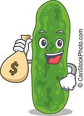 Rich legionella micdadei cartoon design holds money bags. ...
