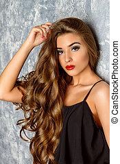 rich long hair - Gorgeous young woman with sensual red lips...