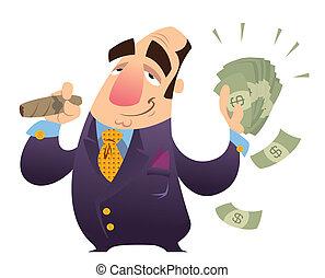 Rich man - A happy cartoon rich man, smoking cigar and...