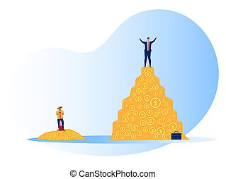 Rich man and poor man Inequality concept vector illustrator