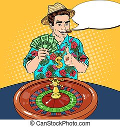 Rich Man Behind Roulette Table Celebrating Big Win. Casino Gambling. Pop Art Vector retro illustration