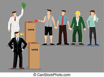 Rich Man Buying Votes Through Bribery Vector Illustration -...