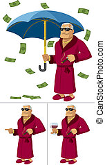 Cartoon illustration of rich man in 3 different poses/situations. No transparency and gradients used.