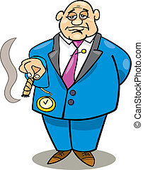 Cartoon illustration of rich man smoking cigar