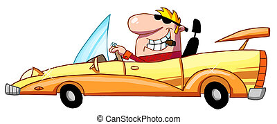 Rich Man Drives Convertible - Blond Guy Smoking A Cigar And...