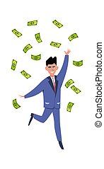 Rich man. Happy young success businessman or millionair character under finance rain vector money concept
