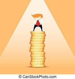 Rich Man - Vector cartoon illustration of a rich blonde ...
