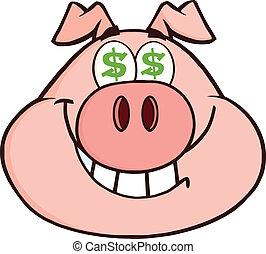 Rich Pig Head With Dollar Eyes