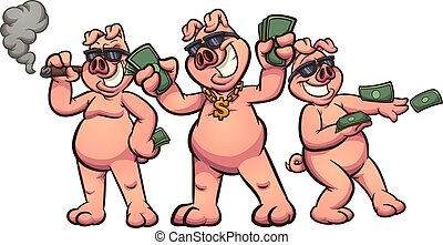 Rich pigs - Rich cartoon pigs showing off money clip art. ...