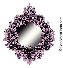 Rich Purple Baroque Mirror frame Vector. French Imperial Luxury intricate ornamented details. Victorian Royal Style decors