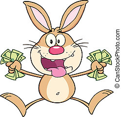 Rich Rabbit Jumping With Cash