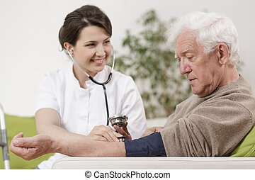 Rich senior during home appointment