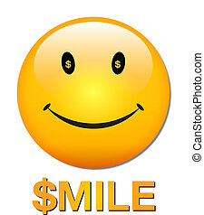 rich smiley face - vector art of a yellow smiley face with...