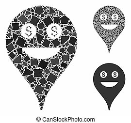 Rich smiley map marker Composition Icon of Trembly Parts