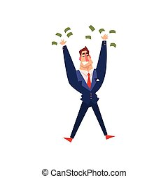 Rich successful businessman character with a lot of money, successful business character cartoon vector Illustration on a white background