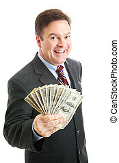Rich, successful businessman holding a wad of cash. Isolated on white.
