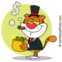 Rich Tiger Carrying A Pot Of Gold - Happy Tiger Carrying A...
