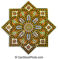 Rich vintage tiled pattern decoration - Ancient tiled...