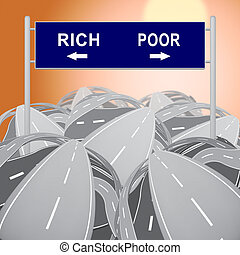 Rich Vs Poor Wealth Sign Meaning Well Off Against Being Broke. Inequality And Injustice Of Life And Money - 3d Illustration