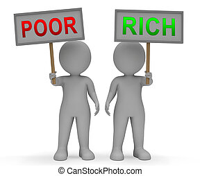 Rich Vs Poor Wealth Signs Meaning Well Off Against Being Broke. Inequality And Injustice Of Life And Money - 3d Illustration