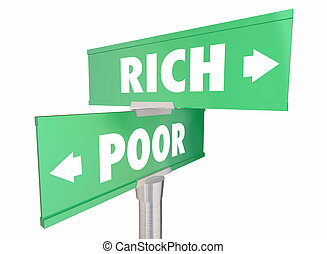 Rich Vs Poor Wealth Versus Poverty Signs Words 3d Illustration