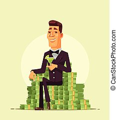 Rich wealthy happy smiling businessman worker entrepreneur character sitting on pile stack heap of money and drinking cocktail. Successful life cartoon flat isolated illustration