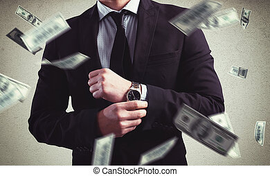 Rich with success - Rich Man with Clock and money background