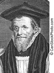 Richard Bancroft (1544-1610) on engraving from the 1700s. Archbishop of Canterbury and chief overseer of production of the authorized version of the Bible. Engraved by G.Vertue.