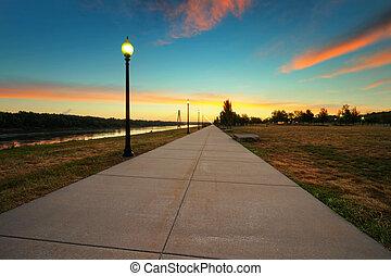 richard, berkley, riverfront, parc, levers de soleil