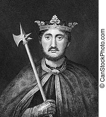 Richard I of England (1157-1199) on engraving from 1830. ...