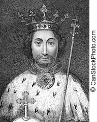 Richard II (1367-1400) on engraving from the 1800s. King of...
