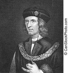 Richard III of England (1452-1485) on engraving from 1830. ...