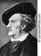 Richard Wagner (1813-1883) on engraving from 1908. German ...