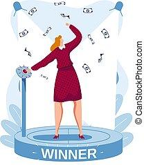 riche, éditorial, style, inscription, heureux, business, illustration, vecteur, girl, réussi, femme, dessin animé, gagnant, profitable