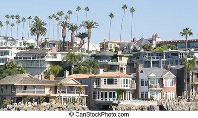 riche, angeles., côte, newport, luxe, océan, los, port, plage, usa., maisons, beachfront, maisons, loyer, propriété, pacifique, vacances, front mer, californie, front mer, prime, week-end, propriété, vrai, suburbain