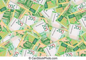 riche, conceptuel, mensonges, vie, 200, russe, factures, fond, rubles, pile., grand