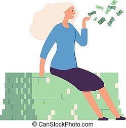 riche, donating., métier, femme affaires, femme, argent., voler, illustration, espèces, girl, partage, reussite, croissance, isolé, riche, vecteur, ou, financier