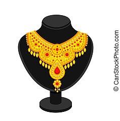 riche, doré, noir, necklace., stand