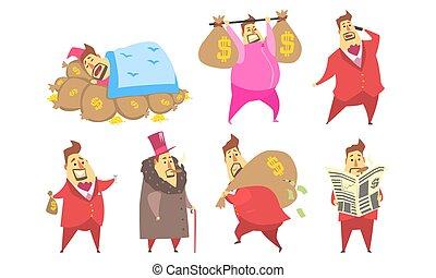 riche, ensemble, complet, dessin animé, rigolote, caractère, différent, rouges, millionnaire, situations, homme affaires, illustration, vecteur, graisse