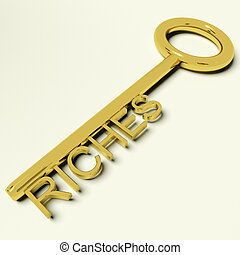 Riches Gold Key Representing Wealth and Fortune