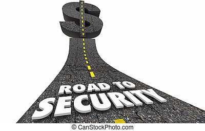 richesse, argent, dollar, illustration, signe, protection, sécurité, route, 3d