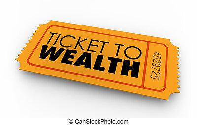 richesse, argent, faire, richesses, illustration, revenu, billet, 3d