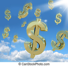 richesse, ciel, signe dollar, symboles, tomber
