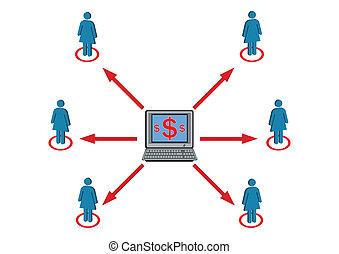 richesse, illustration, vecteur, femme, distribution, personnel