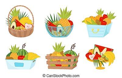 richesse, vecteur, blanc, ensemble, fond, panier fruit, illustré