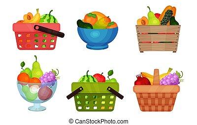 richesse, vecteur, blanc, ensemble, panier fruit, illustré, arrière-plan.