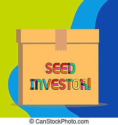 richiesto, foto, inizio, soldi, esposizione, iniziale, business., segno, fonte, seme, testo, concettuale, nuovo, investor.