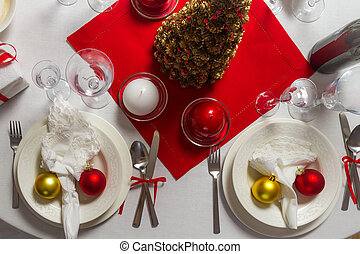 Richly laid table ready for Christmas Eve
